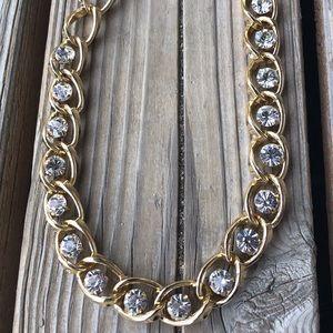 Steve Madden Chunky Gold Tone Crystal Necklace!
